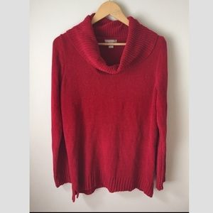 Red cowl neck soft sweater
